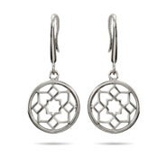 Designer Style Flower Medallion Sterling Silver Earrings