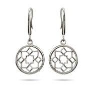 Designer Style Flower Medallion Sterling Silver Earrings