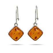 Baltic Amber Cushion Cut Leverback Dangle Earrings
