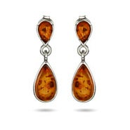 Genuine Baltic Amber Sterling Silver Peardrop Earrings