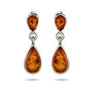Genuine Baltic Amber Sterling Silver Peardrop Earrings