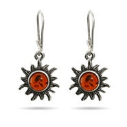 Sterling Silver Baltic Amber Leverback Sun Earrings