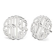 Sterling Silver Custom Monogram Stud Earrings