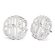 Sterling Silver Custom Monogram Stud Earrings