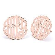 Rose Gold Custom Monogram Stud Earrings