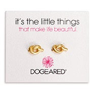 Dogeared Love Knot Gold Dipped Stud Earrings