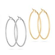 "2"" Gold and Silver Stainless Steel Hoop Earrings Set"
