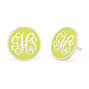 Enamel Script Monogram Disc Earrings in Silver