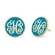 Enamel Script Monogram Disc Earrings in Gold