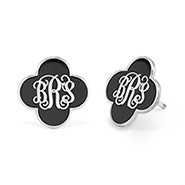Enamel Clover Script Monogram Earrings in Silver