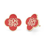Enamel Clover Script Monogram Earrings in Gold