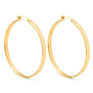 "1.5"" Flat Gold Hoop Earrings"