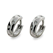 Designer Style Sterling Silver Twinkling Cubic Zirconia Huggie Earrings
