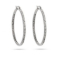 "2"" Inside Out CZ Hoop Earrings"