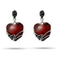 Vintage Style Garnet Glass Heart Sterling Silver Marcasite Earrings