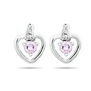 Birthstone Heart Prong Set Sterling Silver Stud Earrings