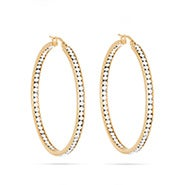 "2"" Inside Out Gold CZ Hoop Earrings"
