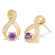 Gold Infinity Birthstone Earrings
