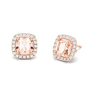 Morganite Cushion Cut Rose Gold Earrings