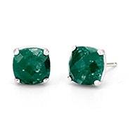 May Emerald Cushion Cut Gemstone Silver Earrings