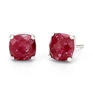 July Ruby Cushion Cut Gemstone Silver Earrings