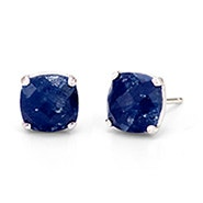 September Sapphire Cushion Cut Gemstone Silver Earrings