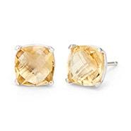 November Citrine Cushion Cut Gemstone Silver Earrings