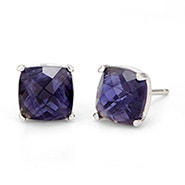 December Lolite Cushion Cut Gemstone Silver Earrings