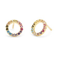 Rainbow CZ Gold Open Circle Earrings