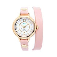 La Mer Del Mar Blush and Gold Leather Wrap Watch