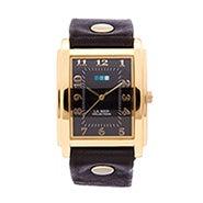 La Mer Black Wash Oversize Square Gold Watch