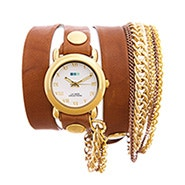 La Mer Arizona Tobacco Multichain Leather Wrap Watch - Clearance Final Sale