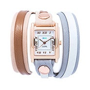 La Mer Montreal Multi Strap Layered Leather Wrap Watch