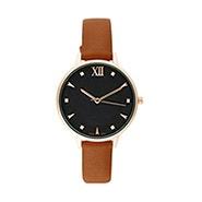 Black Round Face Thin Brown Strap Watch