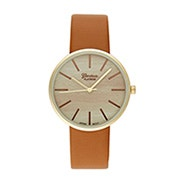 Men's Wood Face Gold and Cognac Watch