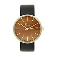 Men's Wood Face Gold and Black Watch