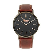 Men's Classic Black and Dark Brown Watch