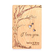 Carved Tree Personalized I Love You Wood Postcard