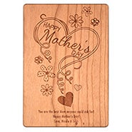 Carved Personalized Happy Mother's Day Wood Postcard
