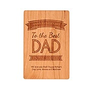 Carved Personalized Best Dad in the World Wood Postcard