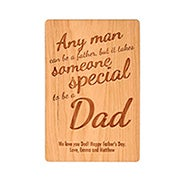 Carved Personalized Special Dad Wood Postcard