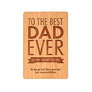 Carved Personalized Best Dad Ever Wood Postcard