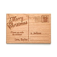 Merry Christmas Personalized Wood Postcard