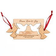 Personalized Wood Turtle Doves Christmas Card with Detachable Ornaments