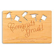 Congrats Grad Soaring Hats Graduation Wood Card