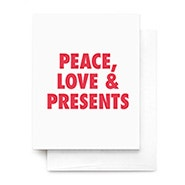 Peace Love & Presents Greeting Card