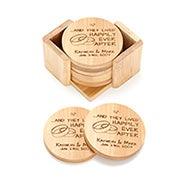 Happy Couple Engraved Bamboo Round Coaster Set