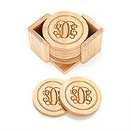 Fancy Script Monogram Engraved Bamboo Round Coaster Set