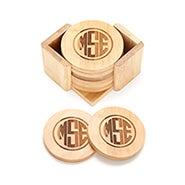 Block Style Monogram Engraved Bamboo Round Coaster Set