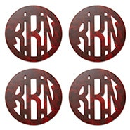 Acrylic Block Monogram 4 Piece Coaster Set